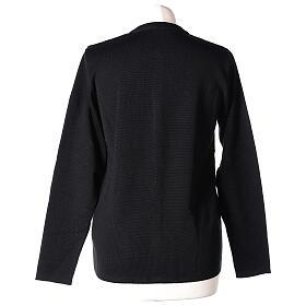 Kardigan siostra zakonna sweter czarny kołnierzyk koreański kieszonki dzianina gładka 50% akryl 50% wełna merynos In Primis s6