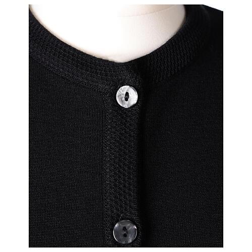Casaco de malha preto tricô plano gola coreana para freira com bolsos, 50% acrílico e 50% lã de merino, linha