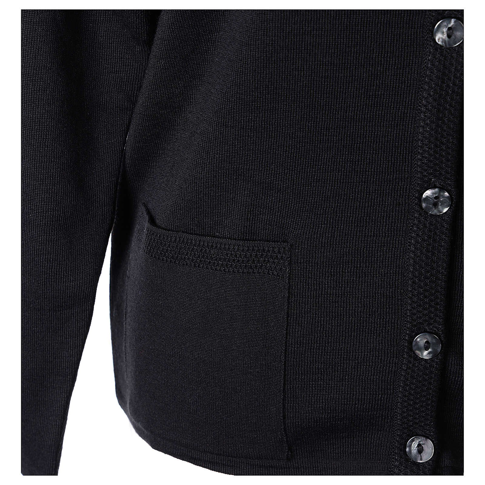 Crew neck black nun cardigan with pockets plain fabric 50% acrylic 50% merino wool In Primis 4