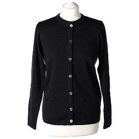Crew neck black nun cardigan with pockets plain fabric 50% acrylic 50% merino wool In Primis s1
