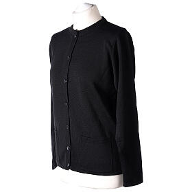 Crew neck black nun cardigan with pockets plain fabric 50% acrylic 50% merino wool In Primis s3