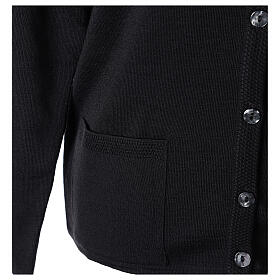 Crew neck black nun cardigan with pockets plain fabric 50% acrylic 50% merino wool In Primis s5