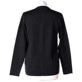 Crew neck black nun cardigan with pockets plain fabric 50% acrylic 50% merino wool In Primis s6