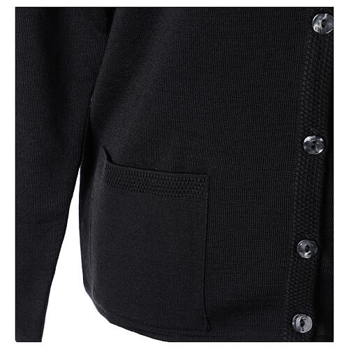 Crew neck black nun cardigan with pockets plain fabric 50% acrylic 50% merino wool In Primis 5