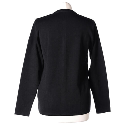 Crew neck black nun cardigan with pockets plain fabric 50% acrylic 50% merino wool In Primis 6