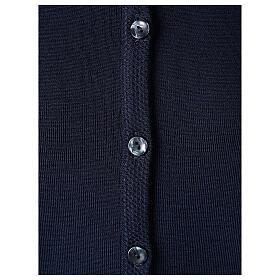 Cardigan soeur bleu ras du cou poches jersey 50% acrylique 50% laine mérinos In Primis s4