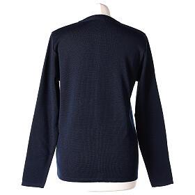 Cardigan soeur bleu ras du cou poches jersey 50% acrylique 50% laine mérinos In Primis s6