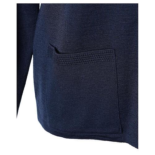 Cardigan soeur bleu ras du cou poches jersey 50% acrylique 50% laine mérinos In Primis 5