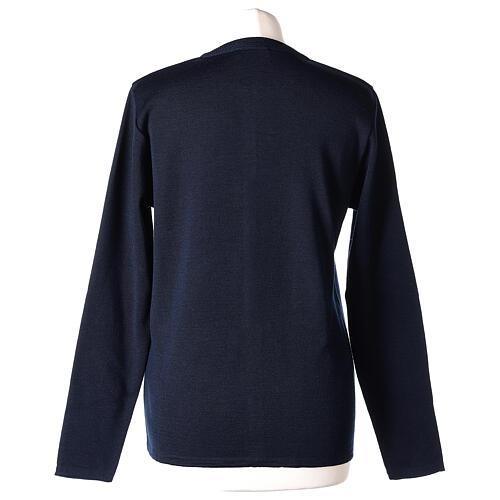 Cardigan soeur bleu ras du cou poches jersey 50% acrylique 50% laine mérinos In Primis 6