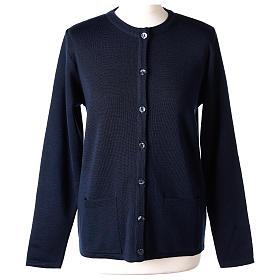 Cardigan suora blu coreana tasche maglia unita 50% acrilico 50% lana merino  In Primis s1
