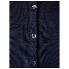 Cardigan suora blu coreana tasche maglia unita 50% acrilico 50% lana merino  In Primis s4