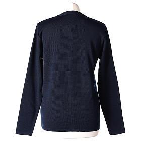 Cardigan suora blu coreana tasche maglia unita 50% acrilico 50% lana merino  In Primis s6