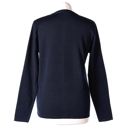 Cardigan suora blu coreana tasche maglia unita 50% acrilico 50% lana merino  In Primis 6