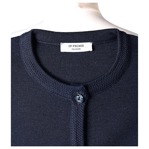 Kardigan siostra zakonna sweter granatowy kołnierzyk koreański kieszonki dzianina gładka 50% akryl 50% wełna merynos In Primis 7