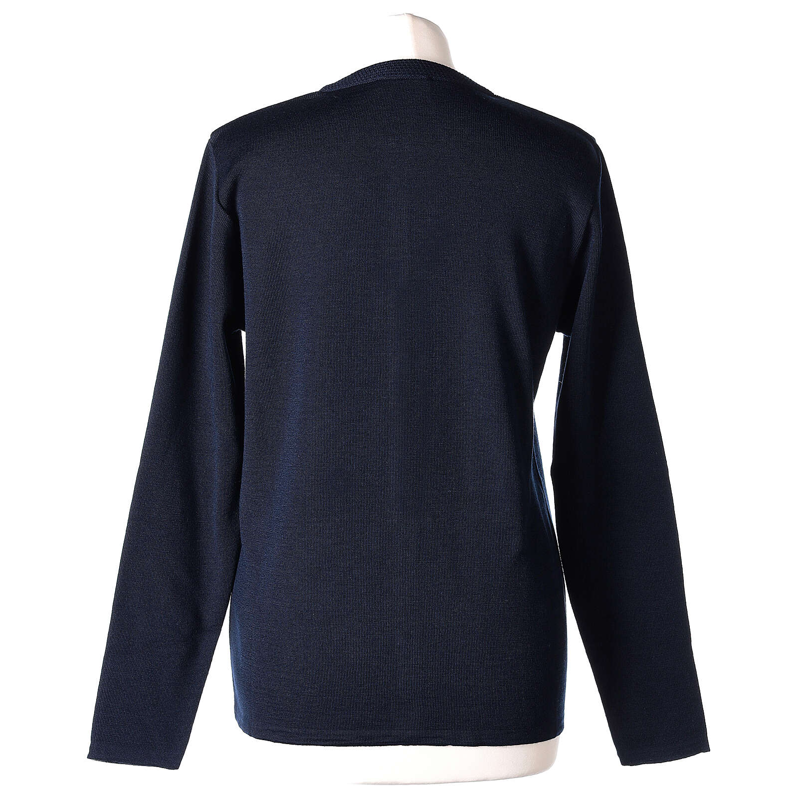 Crew neck blue nun cardigan with pockets plain fabric 50% acrylic 50% merino wool In Primis 4