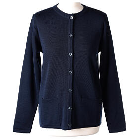 Crew neck blue nun cardigan with pockets plain fabric 50% acrylic 50% merino wool In Primis s1