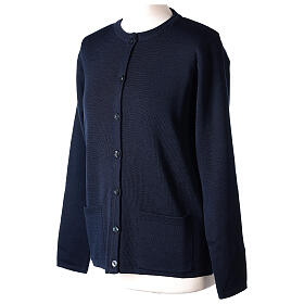 Crew neck blue nun cardigan with pockets plain fabric 50% acrylic 50% merino wool In Primis s3