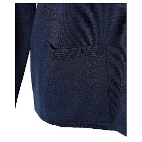 Crew neck blue nun cardigan with pockets plain fabric 50% acrylic 50% merino wool In Primis s5