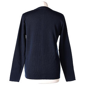 Crew neck blue nun cardigan with pockets plain fabric 50% acrylic 50% merino wool In Primis s6