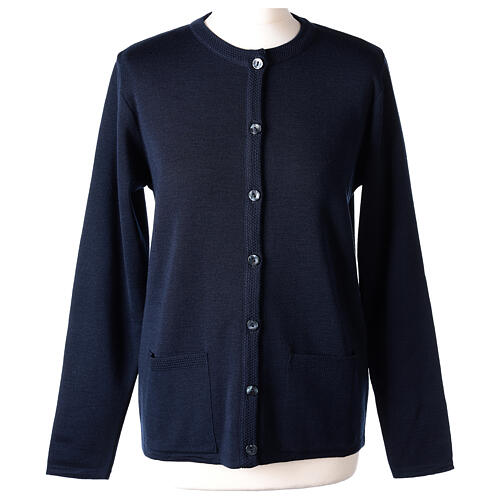 Crew neck blue nun cardigan with pockets plain fabric 50% acrylic 50% merino wool In Primis 1