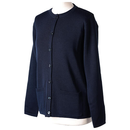 Crew neck blue nun cardigan with pockets plain fabric 50% acrylic 50% merino wool In Primis 3