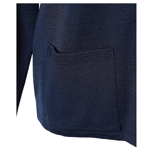 Crew neck blue nun cardigan with pockets plain fabric 50% acrylic 50% merino wool In Primis 5