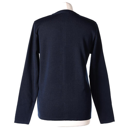 Crew neck blue nun cardigan with pockets plain fabric 50% acrylic 50% merino wool In Primis 6