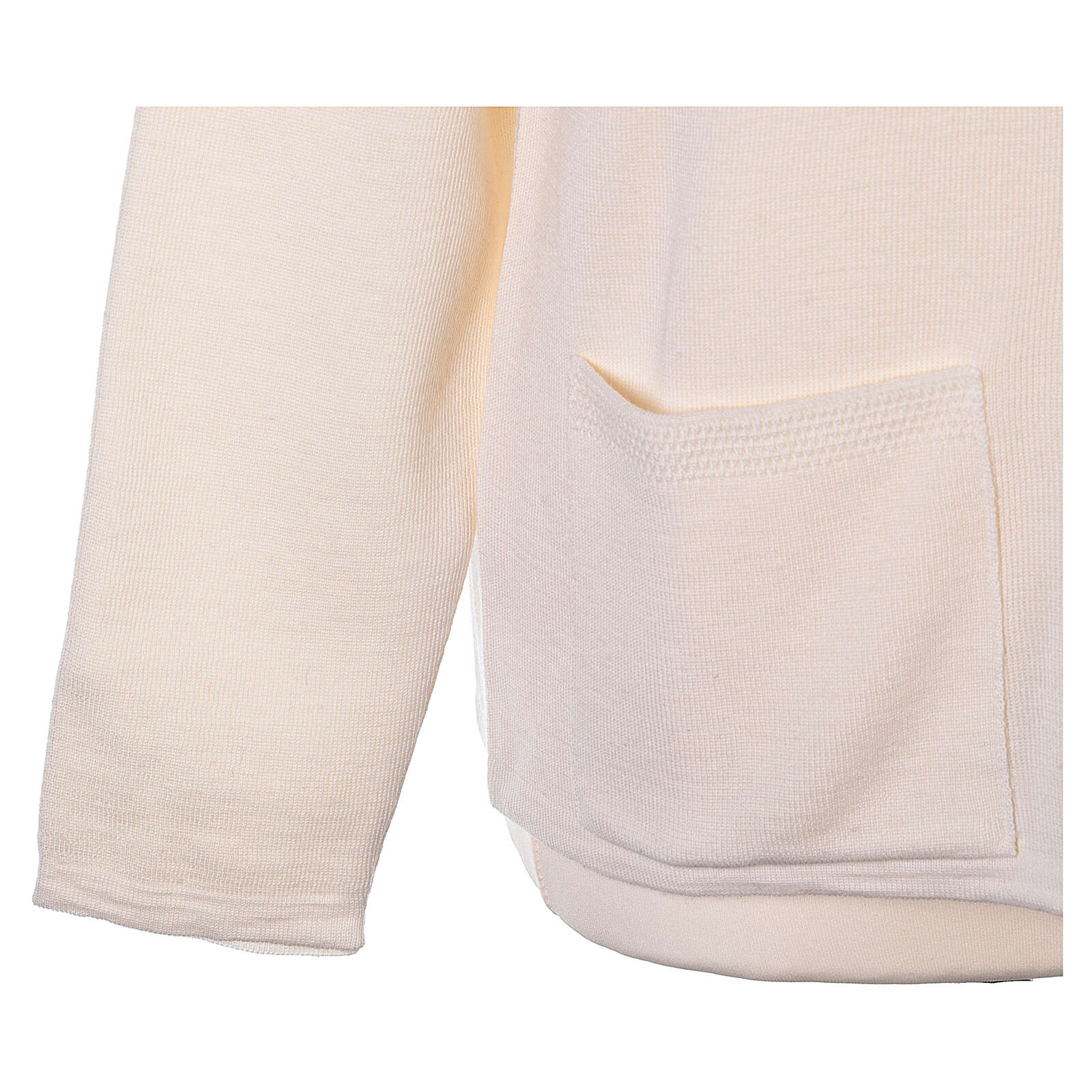 Cardigan soeur blanc ras du cou poches jersey 50% acrylique 50% laine mérinos In Primis 4