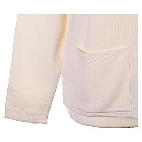 Cardigan soeur blanc ras du cou poches jersey 50% acrylique 50% laine mérinos In Primis s5