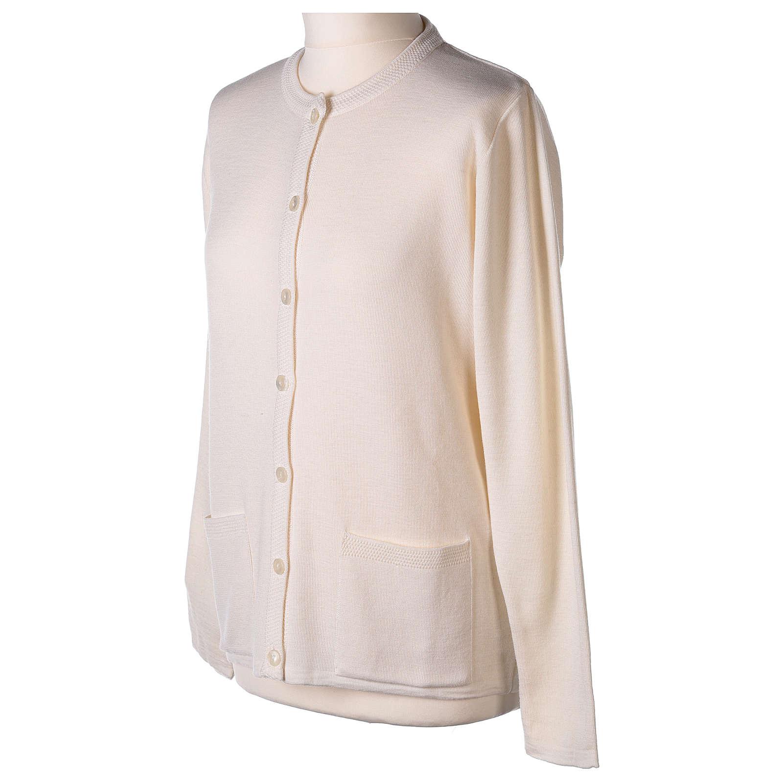 Cardigan suora bianco coreana tasche maglia unita 50% acrilico 50% merino  In Primis 4