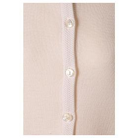 Cardigan suora bianco coreana tasche maglia unita 50% acrilico 50% merino  In Primis s4