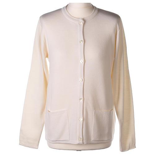 Cardigan suora bianco coreana tasche maglia unita 50% acrilico 50% merino  In Primis 1