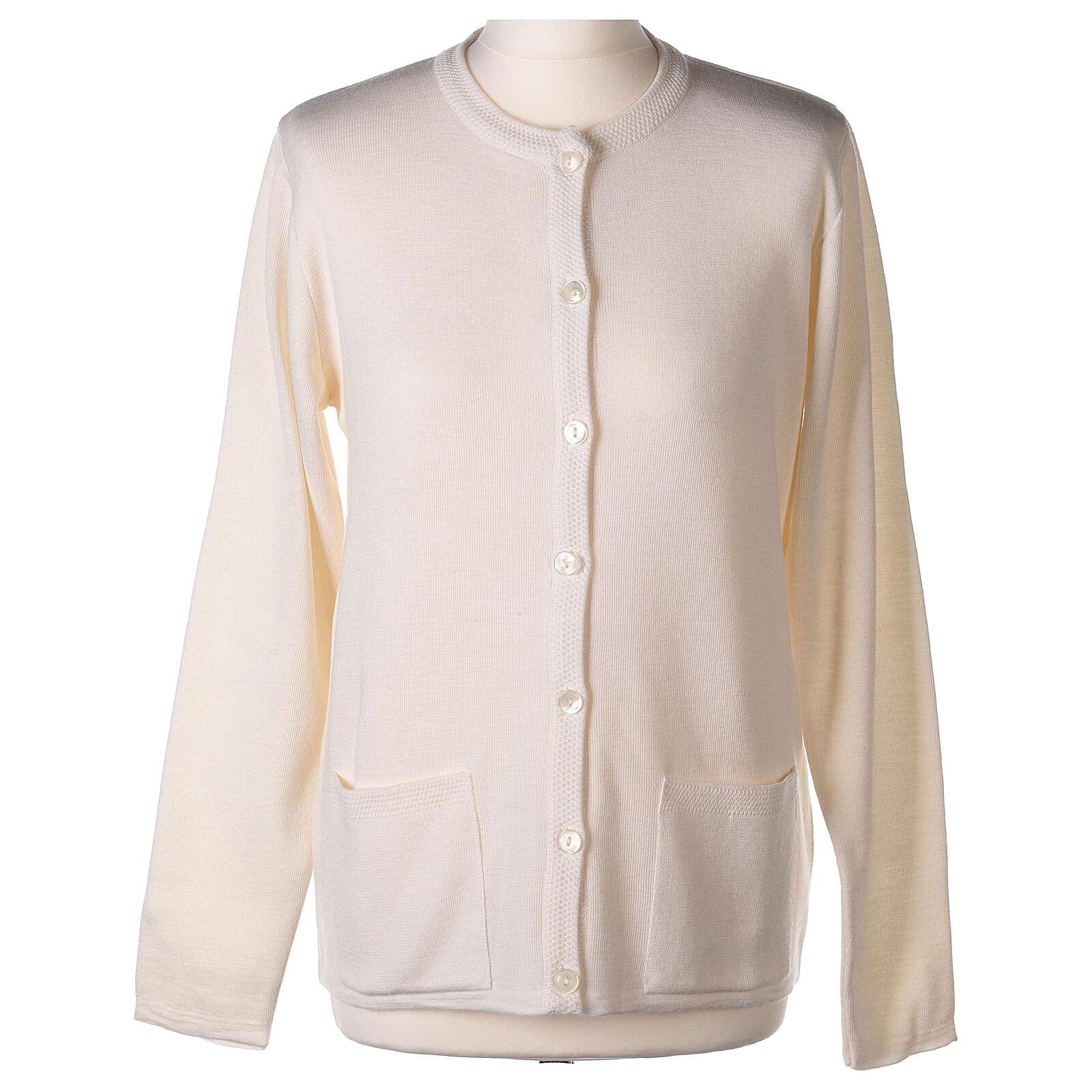 Crew neck white nun cardigan with pockets plain fabric 50% acrylic 50% merino wool In Primis 4