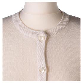 Crew neck white nun cardigan with pockets plain fabric 50% acrylic 50% merino wool In Primis s2