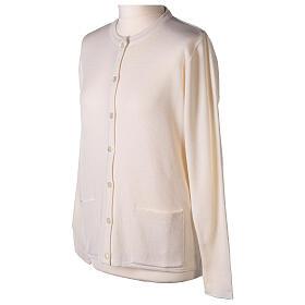 Crew neck white nun cardigan with pockets plain fabric 50% acrylic 50% merino wool In Primis s3
