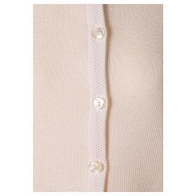 Crew neck white nun cardigan with pockets plain fabric 50% acrylic 50% merino wool In Primis s4