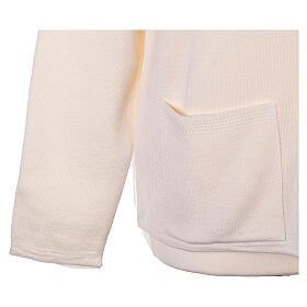 Crew neck white nun cardigan with pockets plain fabric 50% acrylic 50% merino wool In Primis s5