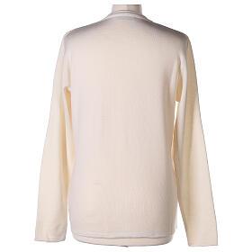 Crew neck white nun cardigan with pockets plain fabric 50% acrylic 50% merino wool In Primis s6
