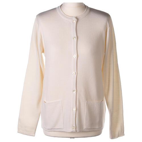 Crew neck white nun cardigan with pockets plain fabric 50% acrylic 50% merino wool In Primis 1