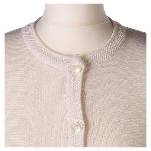 Crew neck white nun cardigan with pockets plain fabric 50% acrylic 50% merino wool In Primis 2