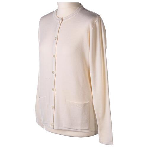 Crew neck white nun cardigan with pockets plain fabric 50% acrylic 50% merino wool In Primis 3