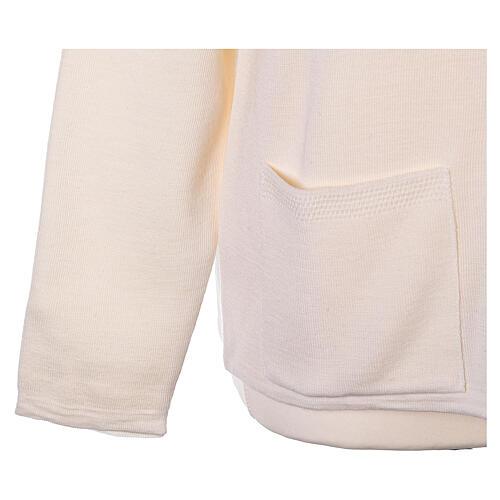 Crew neck white nun cardigan with pockets plain fabric 50% acrylic 50% merino wool In Primis 5