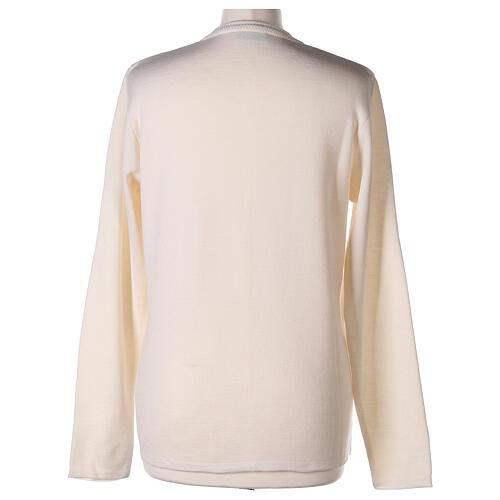 Crew neck white nun cardigan with pockets plain fabric 50% acrylic 50% merino wool In Primis 6