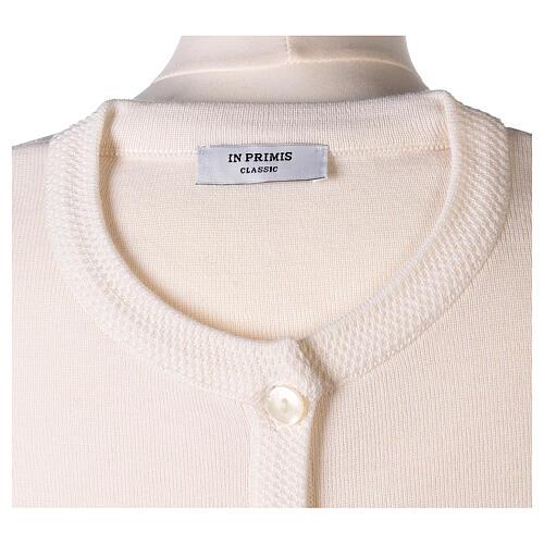 Crew neck white nun cardigan with pockets plain fabric 50% acrylic 50% merino wool In Primis 7