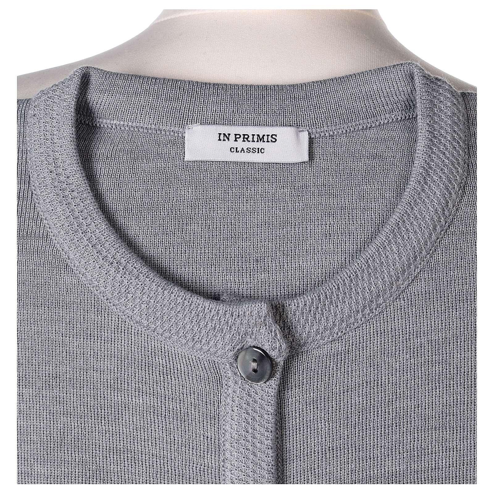Damen-Cardigan, perlgrau, mit Taschen und Rundhalsausschnitt, 50% Acryl - 50% Merinowolle, In Primis 4