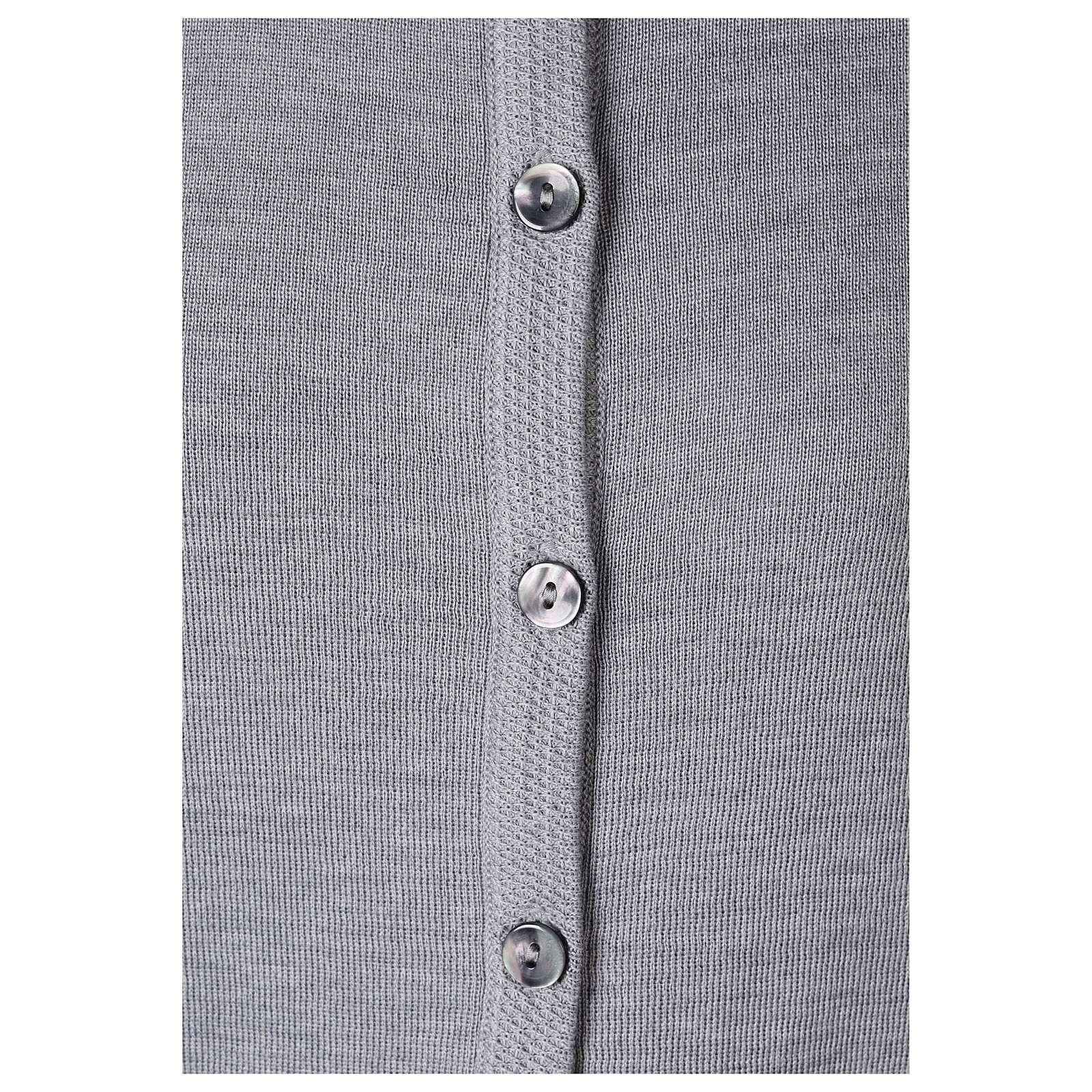 Cardigan soeur gris perle ras du cou poches jersey 50% acrylique 50% laine mérinos In Primis 4
