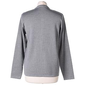 Cardigan soeur gris perle ras du cou poches jersey 50% acrylique 50% laine mérinos In Primis s6