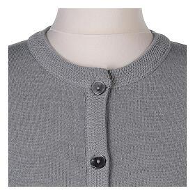 Cardigan soeur gris perle ras du cou poches jersey 50% acrylique 50% laine mérinos In Primis s10