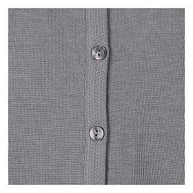 Cardigan soeur gris perle ras du cou poches jersey 50% acrylique 50% laine mérinos In Primis s11