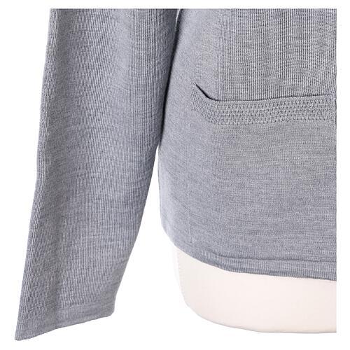 Cardigan soeur gris perle ras du cou poches jersey 50% acrylique 50% laine mérinos In Primis 5